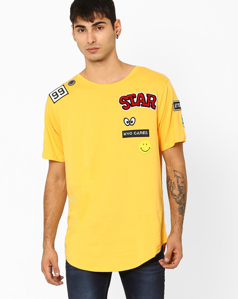 Cotton T-shirt With Appliqué By ADAMO LONDON ( Yellow )