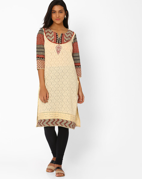 Cotton Kurta With Printed Sleeves By Rangriti ( Beige )