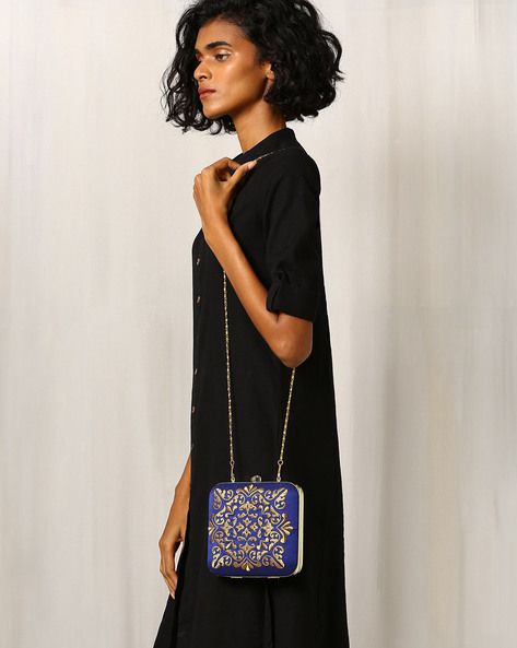 Raw Silk Clutch With Zari Embroidery By Molcha ( Blue )