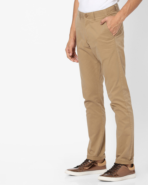 Flat-Front Tapered Chinos By NETPLAY ( Khaki )