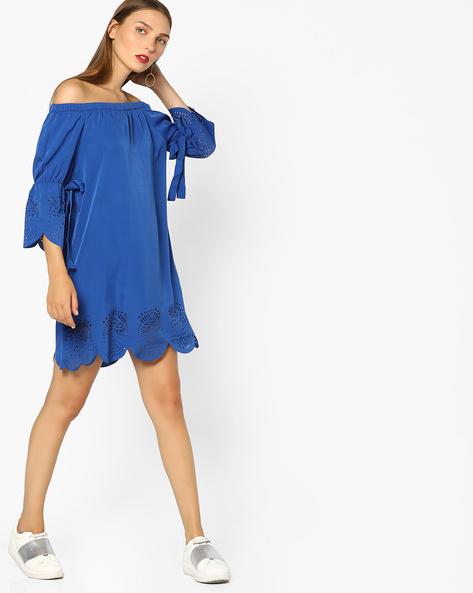 Off-Shoulder Shift Dress By AJIO ( Blue )