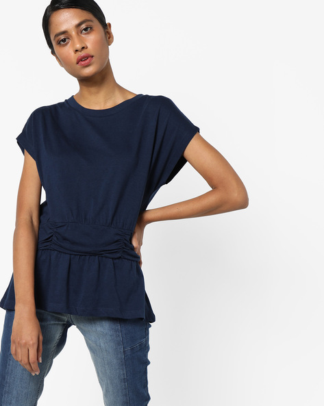 Cotton Flat Knit Peplum Top By AJIO ( Navy )