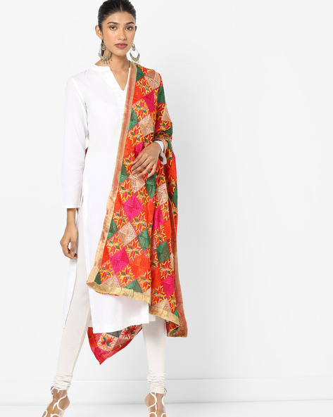 Embroidered Dupatta With Contrast Border By Dupatta Bazaar ( Multi )