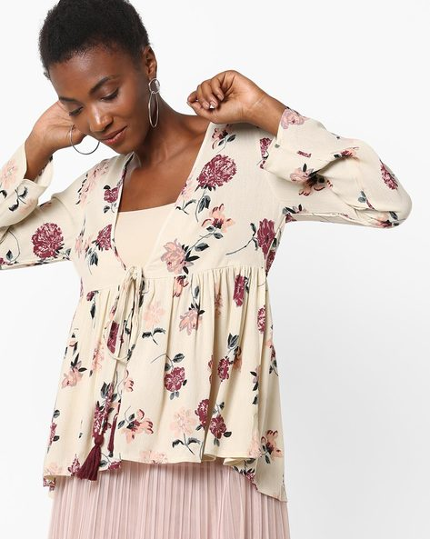 Floral Print Open-Front Top With Tie-Up By Rena Love ( Offwhite )