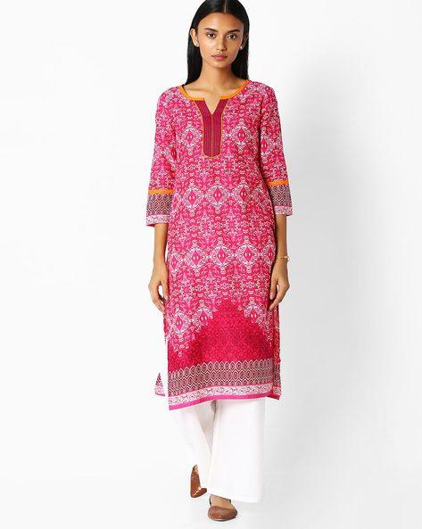 Printed Straight Kurta By Jaipur Kurti ( Pink )