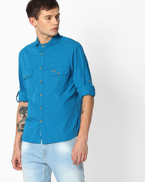 Regular Fit Shirt With Roll Tab Sleeves By Wildcraft ( Teal )