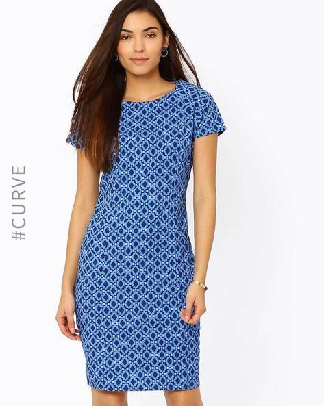 Printed Tailored Dress By AJIO ( Navyblue )