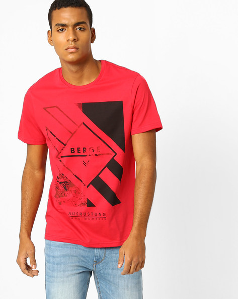 Graphic Print Slim Fit T-shirt By AJIO ( Red ) - 460051974005