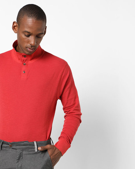 High-Neck T-shirt With Full Sleeves By Pepe Jeans ( Red )