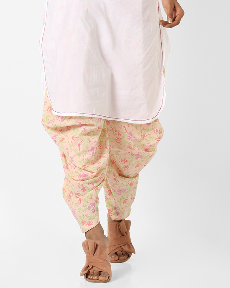 Floral Print Patiala Pants By AJIO ( Pink )