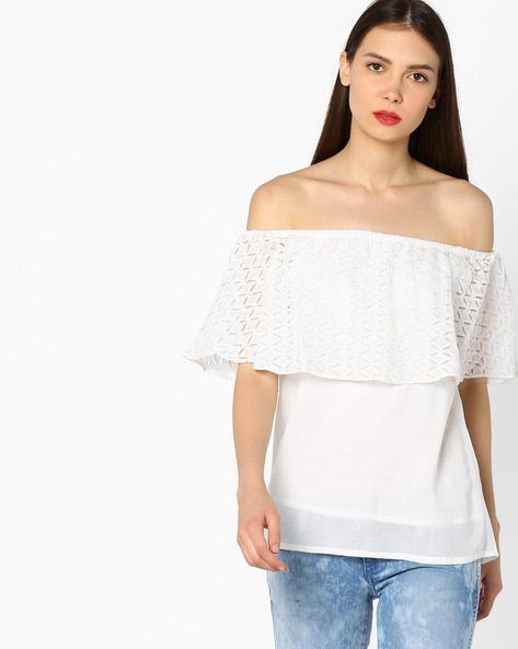 Off-Shoulder Top With Lace Overlay By And ( White )