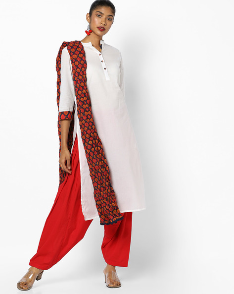 Printed Kurta Suit Set With Dupatta By AJIO ( Offwhite )