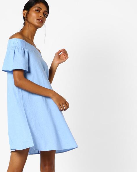 Off-Shoulder Shift Dress By Oxolloxo ( Blue )