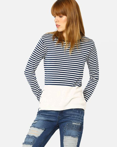 Striped Pullover With Side Slits By AJIO ( Blue )
