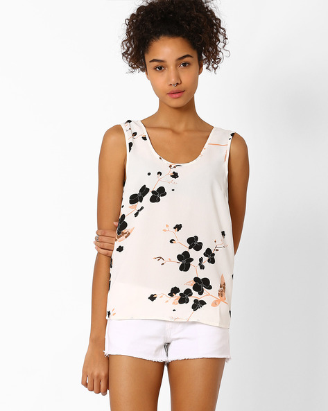 Floral Print Sleeveless Top By Vero Moda ( White )