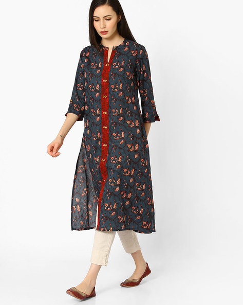 Floral Print Straight Kurta With Front Slit By AJIO ( Navyblue )