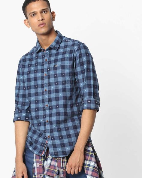 Slim Fit Checked Shirt With Patch Pocket By The Indian Garage Co ( Blue ) - 460191602001