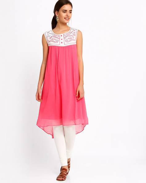 Kurta With High-Low Hem By Bitterlime ( Pink )