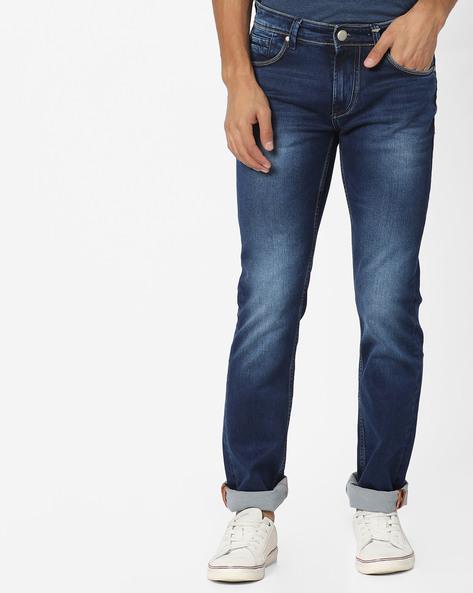 Bolt Lightly Washed Slim Fit Jeans By Killer ( Darkblue )