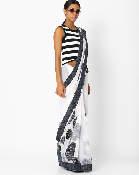Printed Saree With Contrast Border By Amori ( White ) - 460037458001