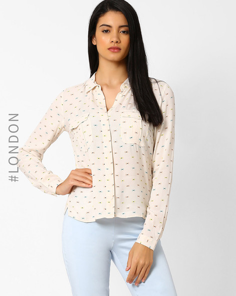 Bow Print Shirt By Marks & Spencer ( Cream )