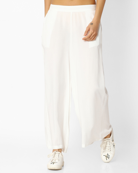 Palazzo Pants With Pockets By Melange By Lifestyle ( Offwhite )