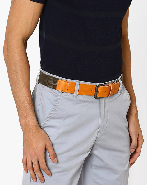 Canvas Belt With Buckle Closure By LEVIS ( Olive )