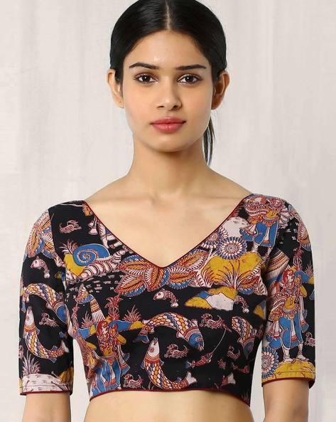 Kalamkari Print Back Open Blouse By Indie Picks ( Multi )