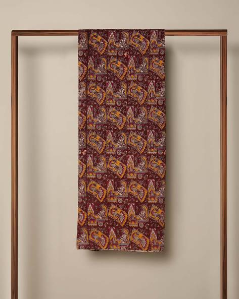Printed Cotton Kalamkari Kurta Fabric By Indie Picks ( Maroon ) - 460103642001