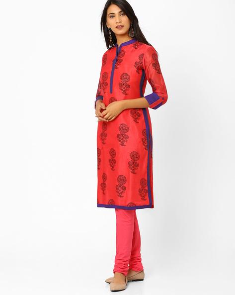 Chanderi Kurta With Floral Block Print By AJIO ( Coral )