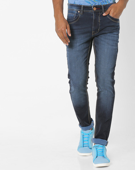 Mid-Rise Skinny Jeans With 5-Pocket Styling By DNMX ( Darkblue )
