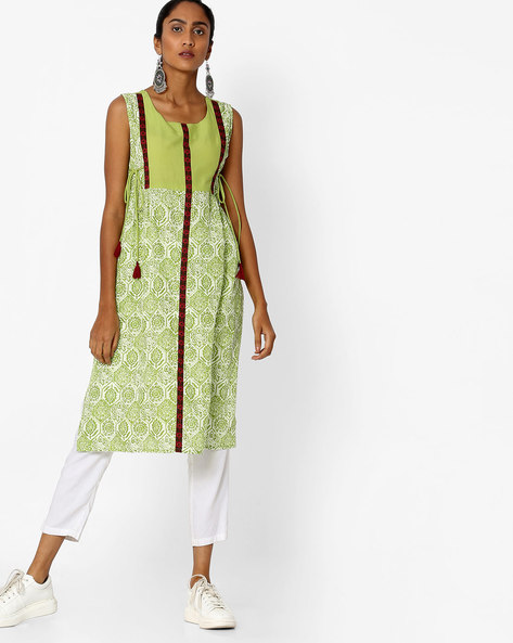 Printed Sleeveless Straight Kurta By Aaboli ( Green ) - 460151385001