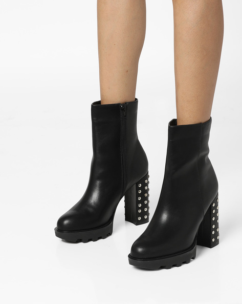 Platform Boots With Studded Heels By Truffle Collection ( Black )