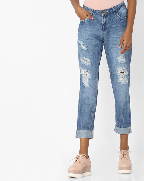 Slim Fit Distressed Jeans By Ginger By Lifestyle ( Blue )