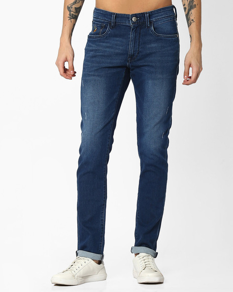 Lightly Washed Slim Fit Jeans By US POLO ( Blue )