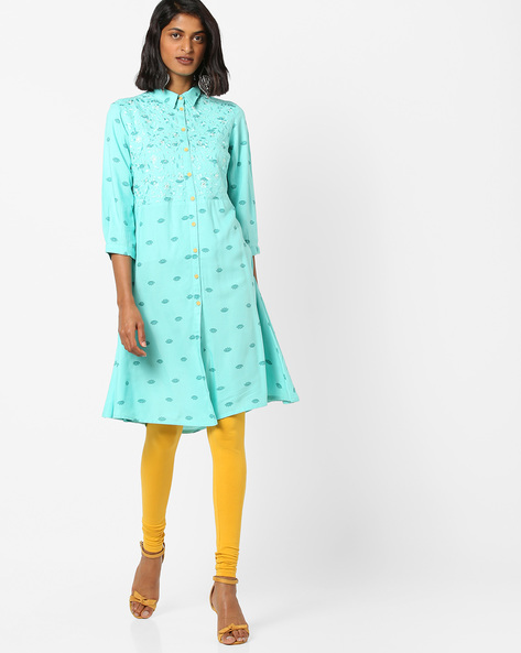 Printed Shirt Kurta With Floral Embroidery By AJIO ( Aqua )