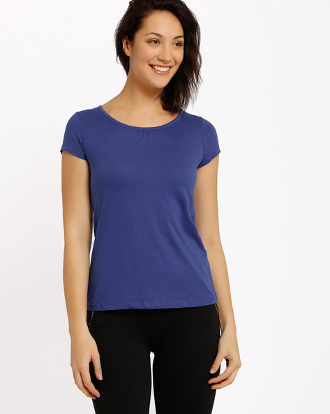 Cotton T-shirt By Ajile By Pantaloons ( Blue ) - 460009532017