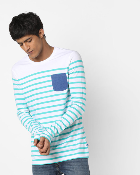 Striped T-shirt With Contrast Patch Pocket By UNITED COLORS OF BENETTON ( Green )