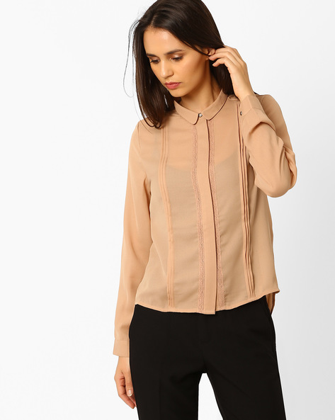 High-Low Shirt With Pintucks By Wills Lifestyle ( White )