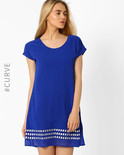 Foil Print Shift Dress By AJIO ( Blue )