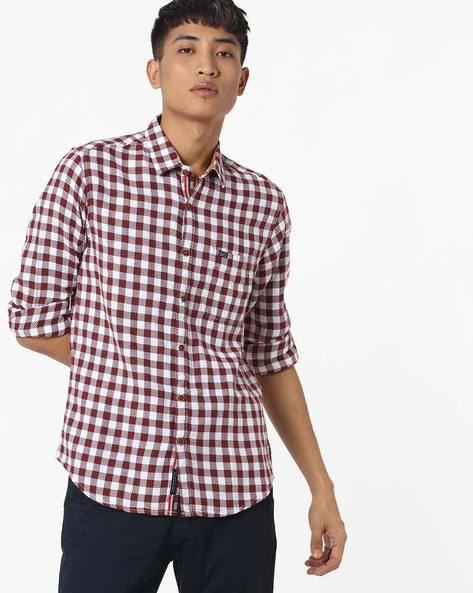 Slim Fit Checked Shirt With Patch Pocket By The Indian Garage Co ( Maroon ) - 460191605005
