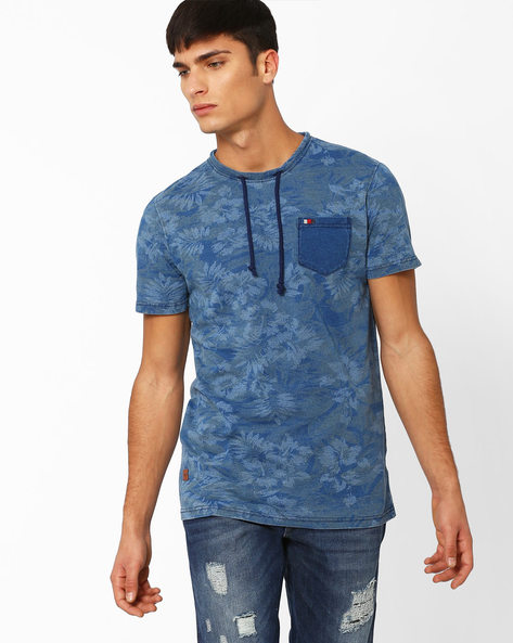 Slim Fit Cotton T-shirt With Self-Design By DNM X ( Ltblue )