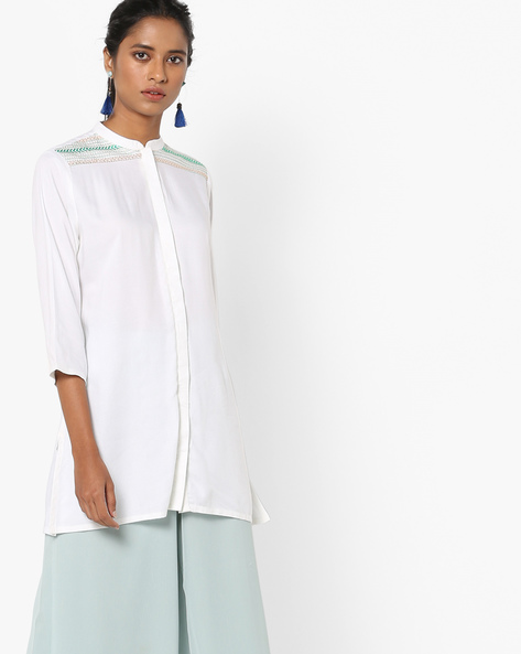 Embroidered Tunic With Mandarin Collar By AJIO ( Offwhite )