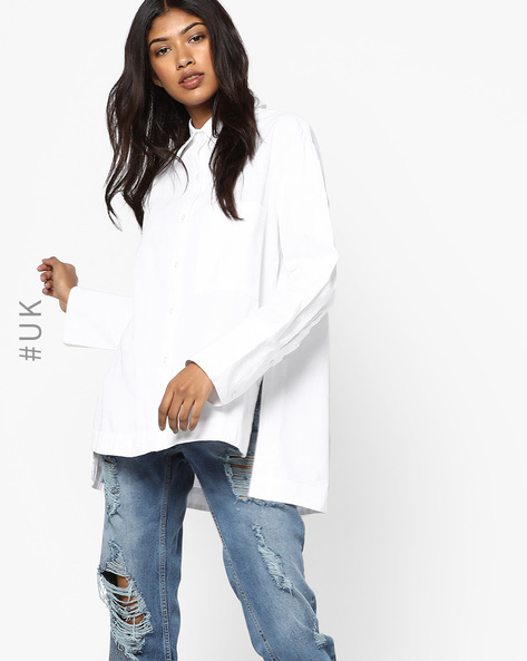 High-Low Cotton Shirt By NEON ROSE ( White )