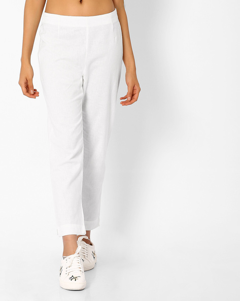 Cotton Trousers With Elasticated Waist By AURELIA ( White )