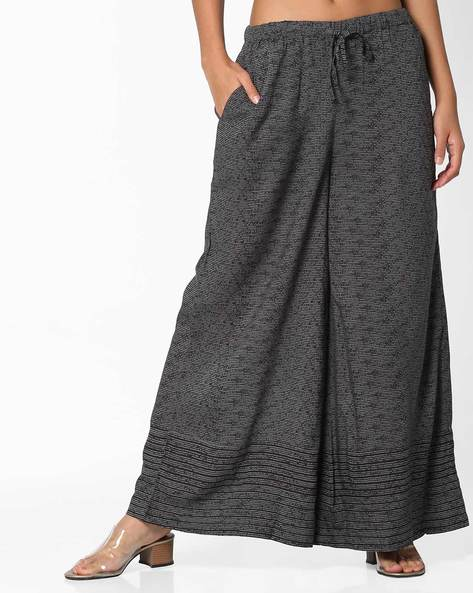Palazzos With Drawstring Fastening By Project Eve IW Casual ( Black )