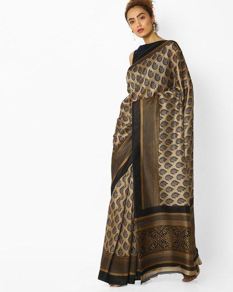 Paisley Printed Saree By Pihu ( Beige )