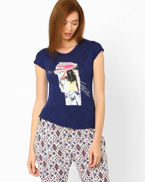 Graphic Print High-Low Top By DNM X ( Navy )