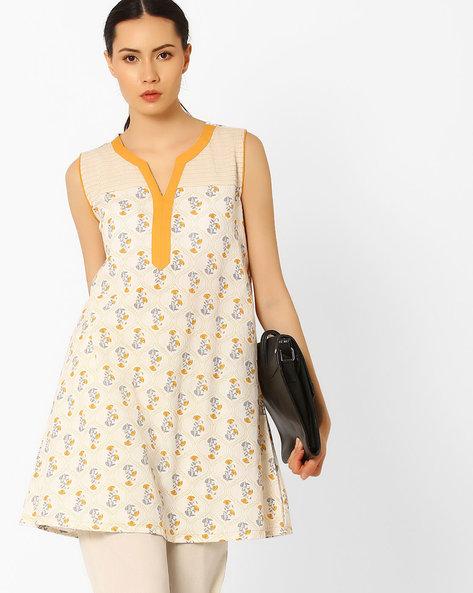 Printed Sleeveless Tunic By AJIO ( Offwhite )