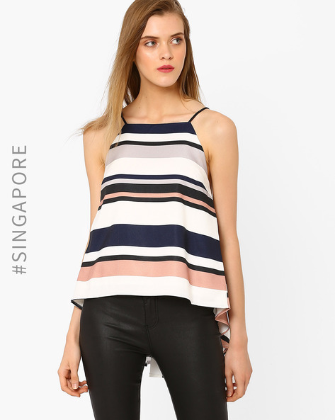 Striped High-Low Top By MDS ( Multi )